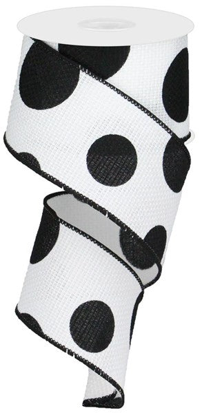 "2.5""x10yd Large Polka Dot - White/Black"