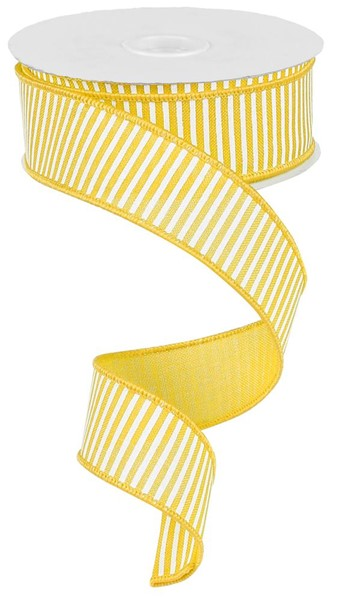 1.5in x 10yd - Horizontal Stripes Ribbon - Yellow/White