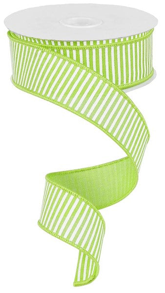 1.5in x 10yd - Horizontal Stripes Ribbon - Lime/White