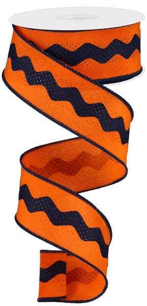 "1.5""X10yd Ric Rac/Satin - Navy/Orange"