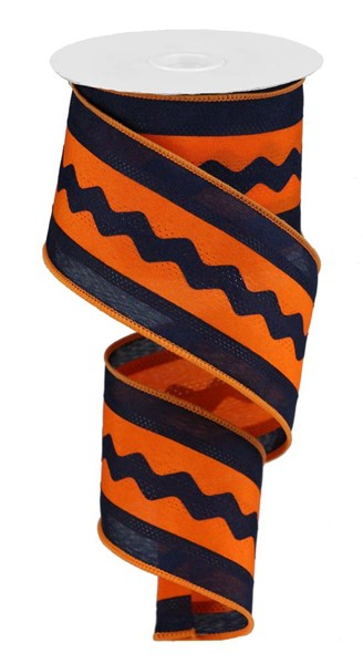 "2.5""X10yd Ric Rac/Satin - Navy/Orange"