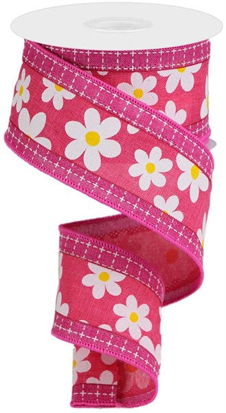"2.5""x10yd 3in1 Daisy/Squares - Pink/Yellow/Yellow"