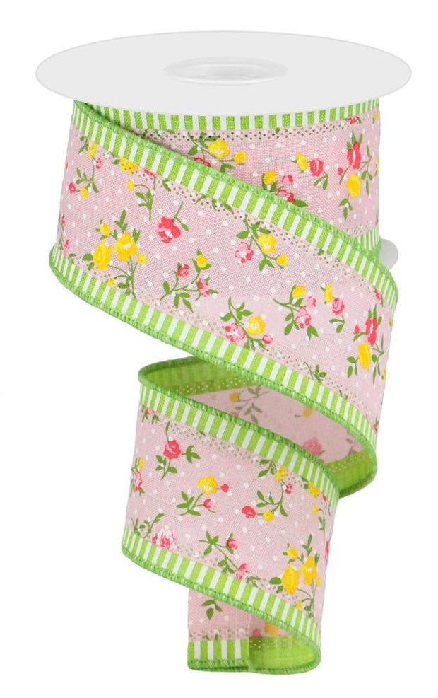 2.5in x 10yd - 3 in 1 Vintage Floral Ribbon - Pink/Lime