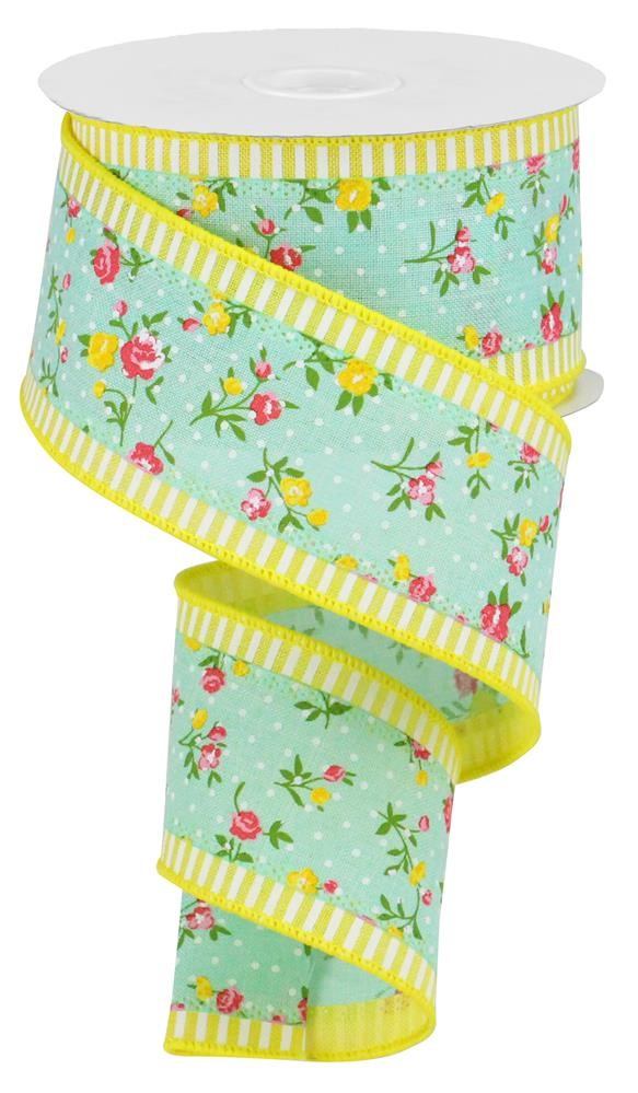 2.5in x 10yd - 3 in 1 Vintage Floral Ribbon - Mint/Yellow
