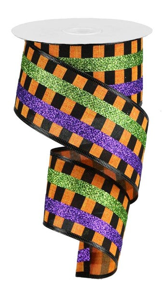 "2.5""x10yd Glitter Stripes - Orange/Black/Purple/Lime"