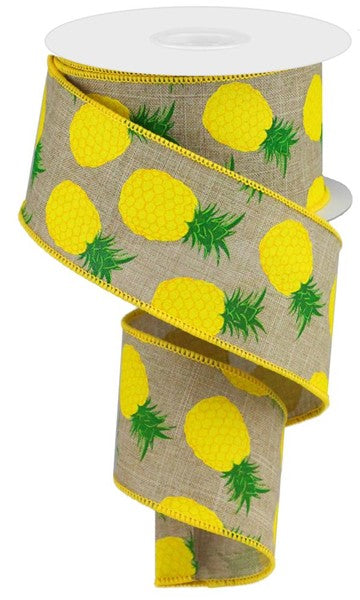 "2.5""x10yd Pineapples - Lt Beige/Yellow/Green"