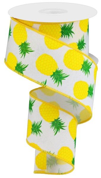 "2.5""x10yd Pineapples - White/Yellow/Green"