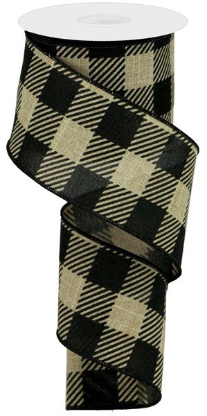 2.5in x 10yd - Black Beige Plaid Striped Check on Royal Ribbon