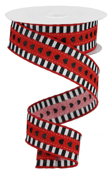 "1.5""x10yd Hearts W/Stripe Border - Black/White/Red"