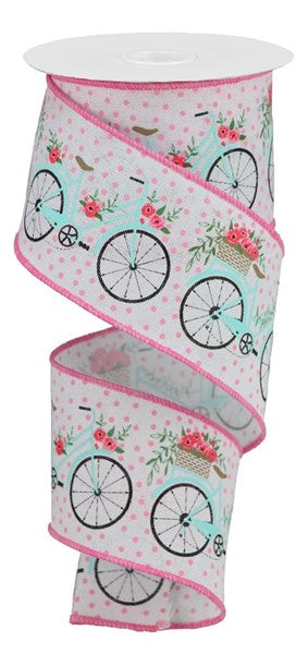 "2.5""x10yd Bicycles - White/Multi"