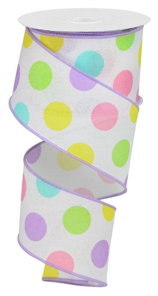 "2.5""X10yd Multi Polka Dots/Royal - Pastel"