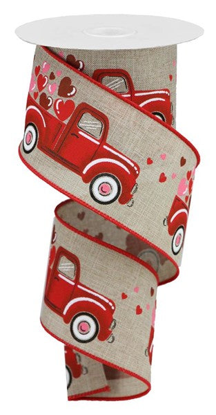 "2.5""x10yd Truck with Hearts - Natural/Red/Pink"