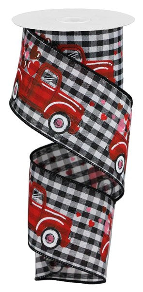 "2.5""x10yd Truck with Hearts - Black/Red/White"