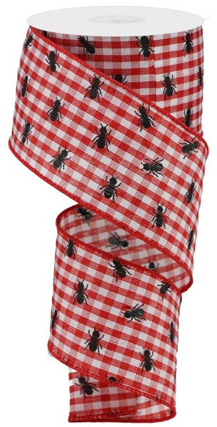 "2.5""X10yd Picnic Ants On Gingham - Red/Black/White"