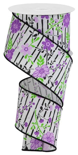 "2.5""x10yd Floral Lines - White/Lavender"