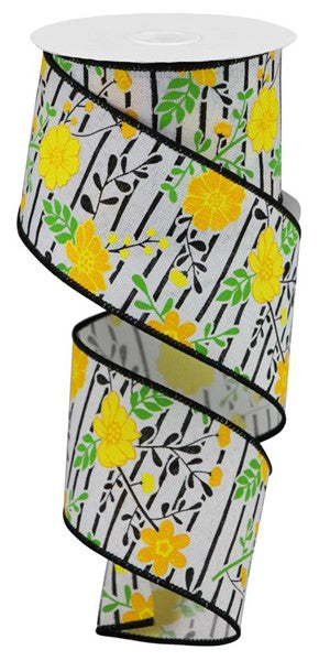 "2.5""x10yd Floral Lines - White/Yellow"