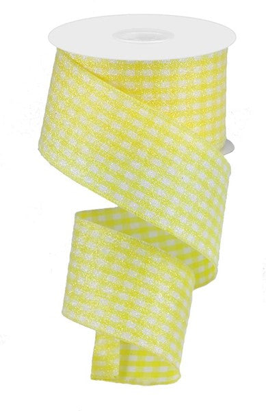 "2.5""x10yd Glitter Gingham- White/Yellow"