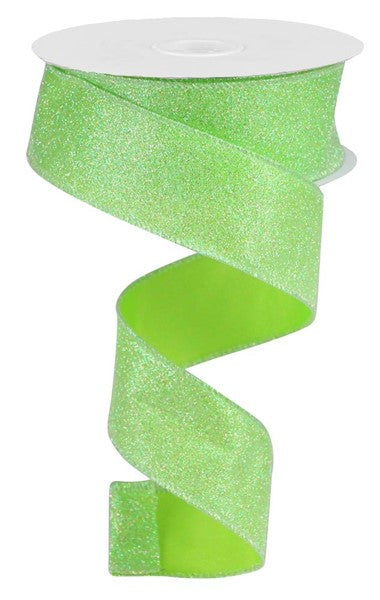 1.5in x 10yd - Iridescent Glitter - Lime
