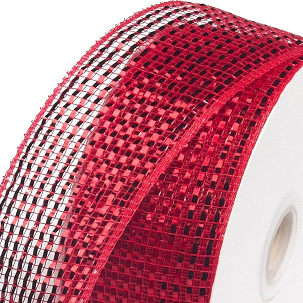 "2.5""X25yd Wide Foil Mesh Ribbon - Red"
