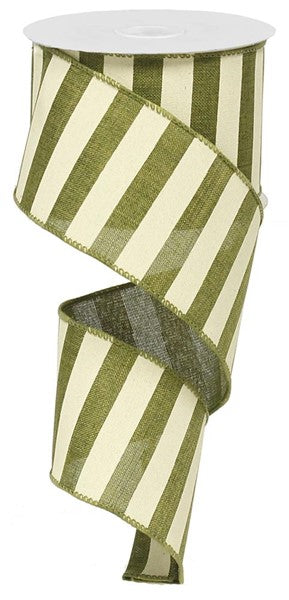 "2.5"" X 10yd Moss Green/Ivory Horizontal Stripe Ribbon"