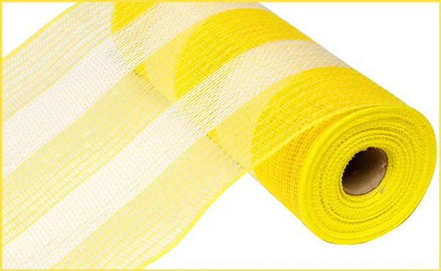 10in x 10yd - Poly Faux Jute Stripe Mesh - Yellow/Cream