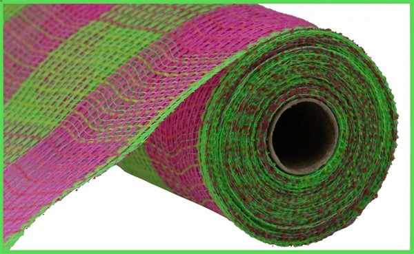 "10.5""X10yd Faux Jute/Pp Large Check - Pink/Green"