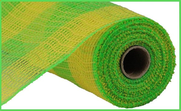 "10.5""x10yd Faux Jute Large Check - Yellow/Lime"