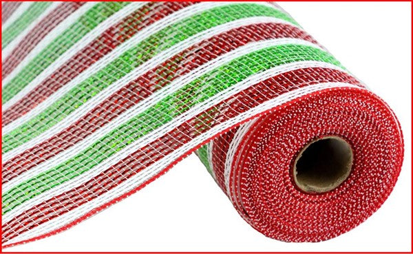 "10.5""x10yd Laser Foil Mesh - Red/Lime/White"