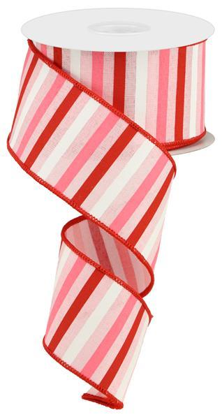 2.5in x 10yd - Red Pink White Horizontal Stripe on Royal Ribbon