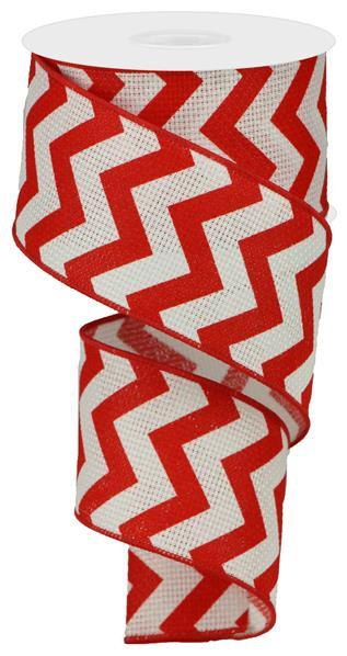 2.5in x 10yd - Wide Red Chevron Ribbon