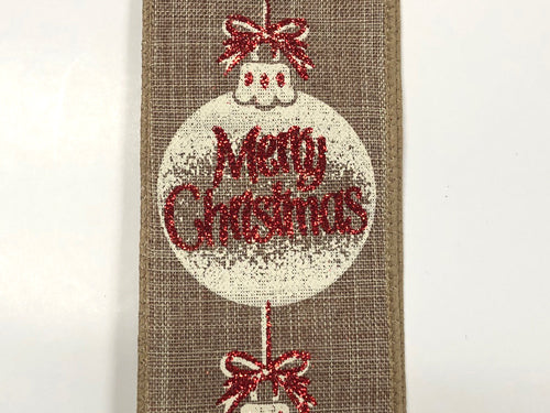 "2.5""x10yd Merry Christmas Ornaments - Red/Cream/Natural"