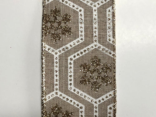 2.5'X10yd Glitter Snowflake-Hexagons - Beige/White/Gold