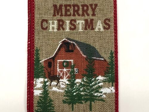 "2.5""x10yd Merry Christmas Red Barn"
