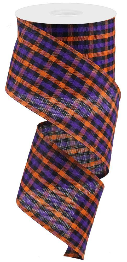 "2.5""x10yd Gingham Check - Black/Orange/Purple"