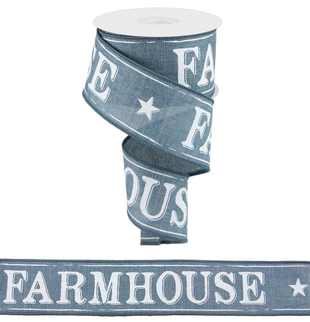 2.5in x 10yd - Faded Denim Farmhouse On Royal Ribbon