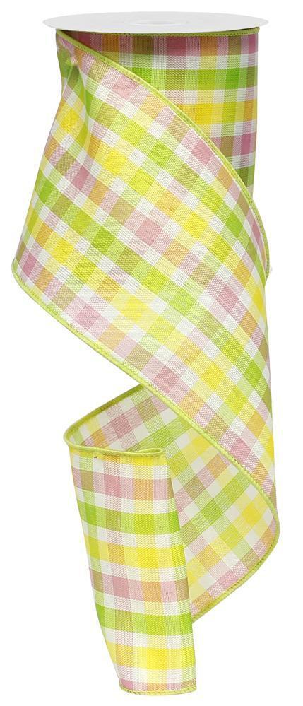 4in x 10yd - Pink White Yellow Lime Spring Check Ribbon