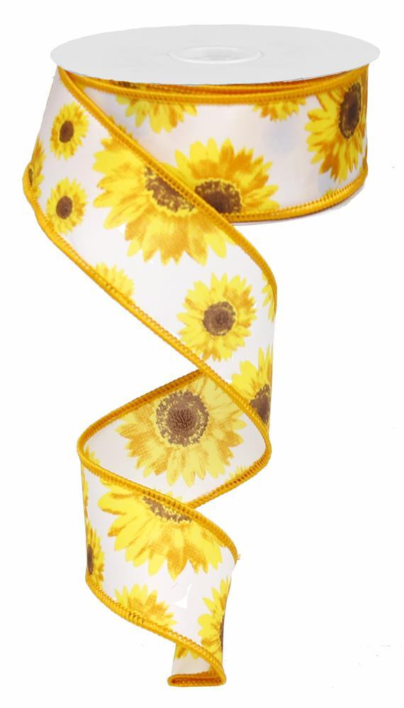 1.5in x 10yd - White Orange Yellow Brown Sunflower Ribbon