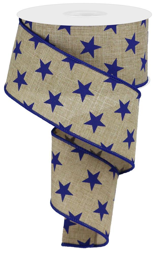 "2.5""10yd Stars on Royal - Lt. Beige/Navy Blue"