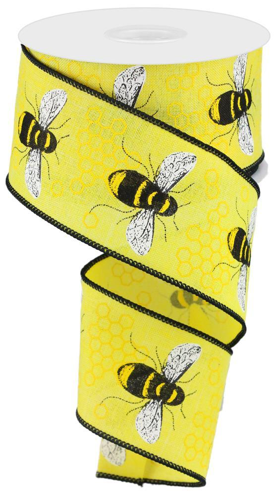 2.5in x 10yd - Yellow Black White Honey Bee on Royal Ribbon