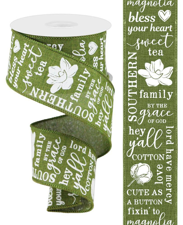 2.5in x 10yd - Green White Southern Charm On Royal Ribbon