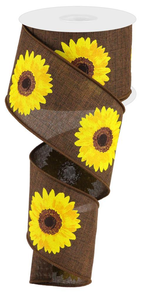 2.5in x 10yd - Dark Brown Yellow Orange-Sunflower Ribbon