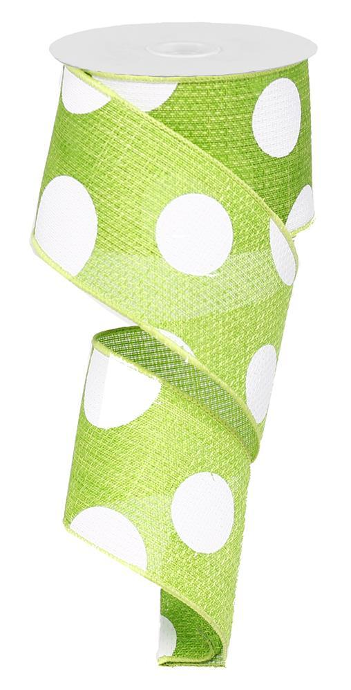 2.5in x 10yd - Lime Green White-Giant Multi Dots Ribbon