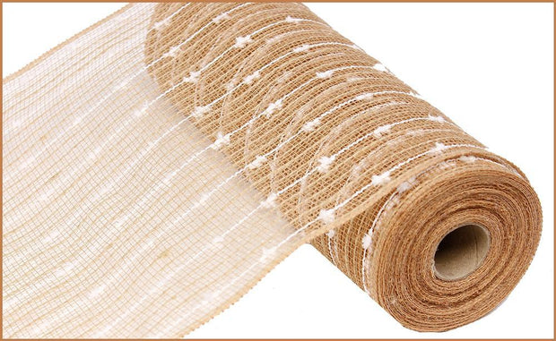 10in x 10yd - Natural White Cotton Ball Poly Jute Mesh