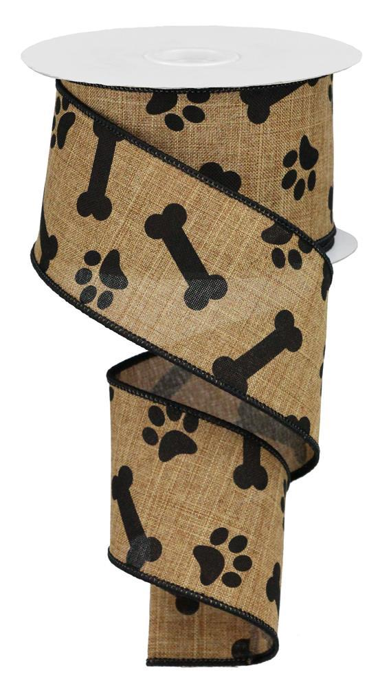 "2.5""x10yd Paw-Bone Print - Tan/Black"