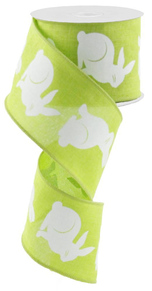 2.5in x 10yd - Lime White-Bunny Bold on Royal Ribbon