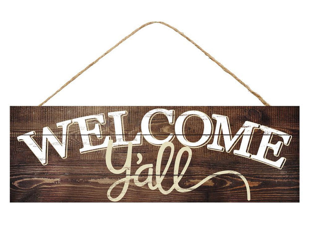 "15"" x 5"" Brown White Cream Welcome Y'all Sign"