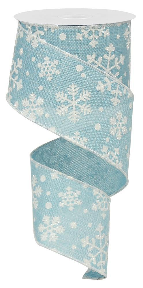 2.5in. x 10yd Light Blue White Falling Snow Royal