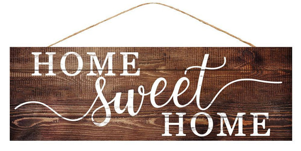 "15""Lx5""H Home Sweet Home - Natural Wood/White"