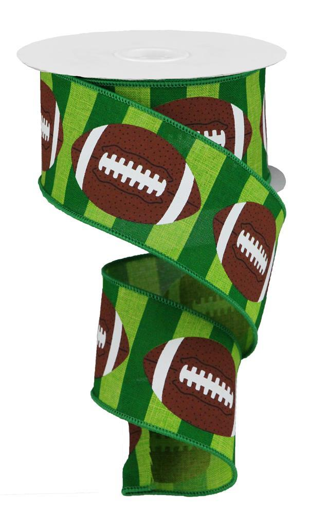"2.5""x10yd Footballs on Royal - Green/Brown/"