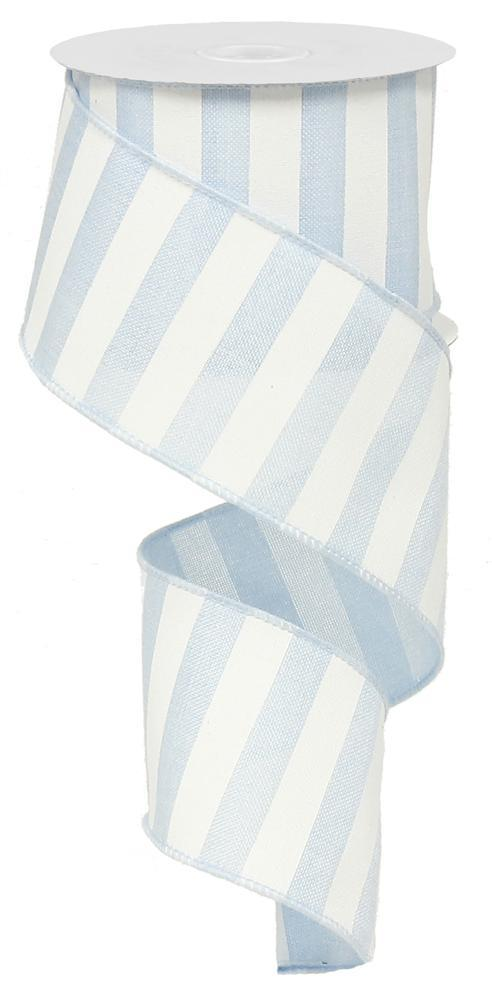 2.5in X 10yd Light Blue White Horizontal Stripe